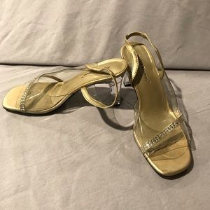 Clear heeled Pierre Dumas Sandals in Gold